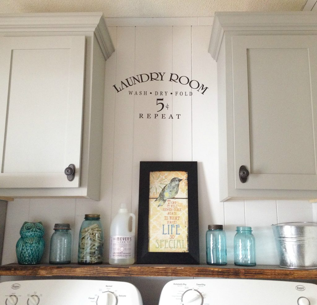 Shaker Cabinet Doors on Laundry Room Cabinets Above Washer and Dryer