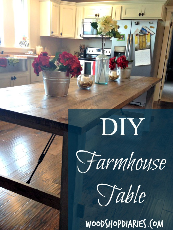 DIY farmhouse dining table with matching bench and four chairs for less than $150!--Woodshop Diaries
