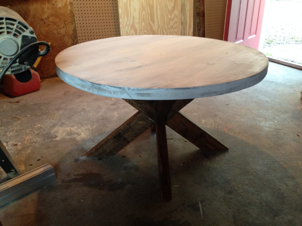Completed round coffee table with X base