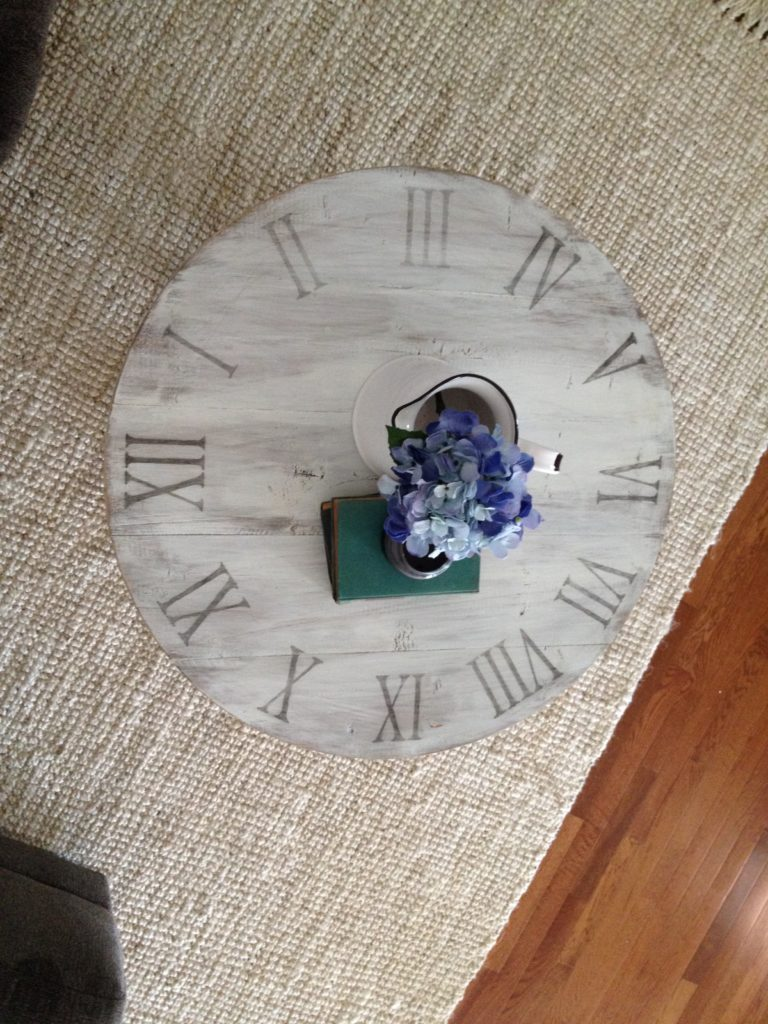 Overhead view of DIY X base clock coffee table