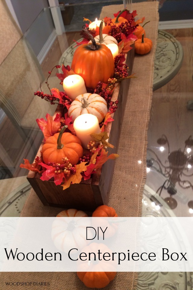 Pinterest graphic for fall wooden centerpiece box