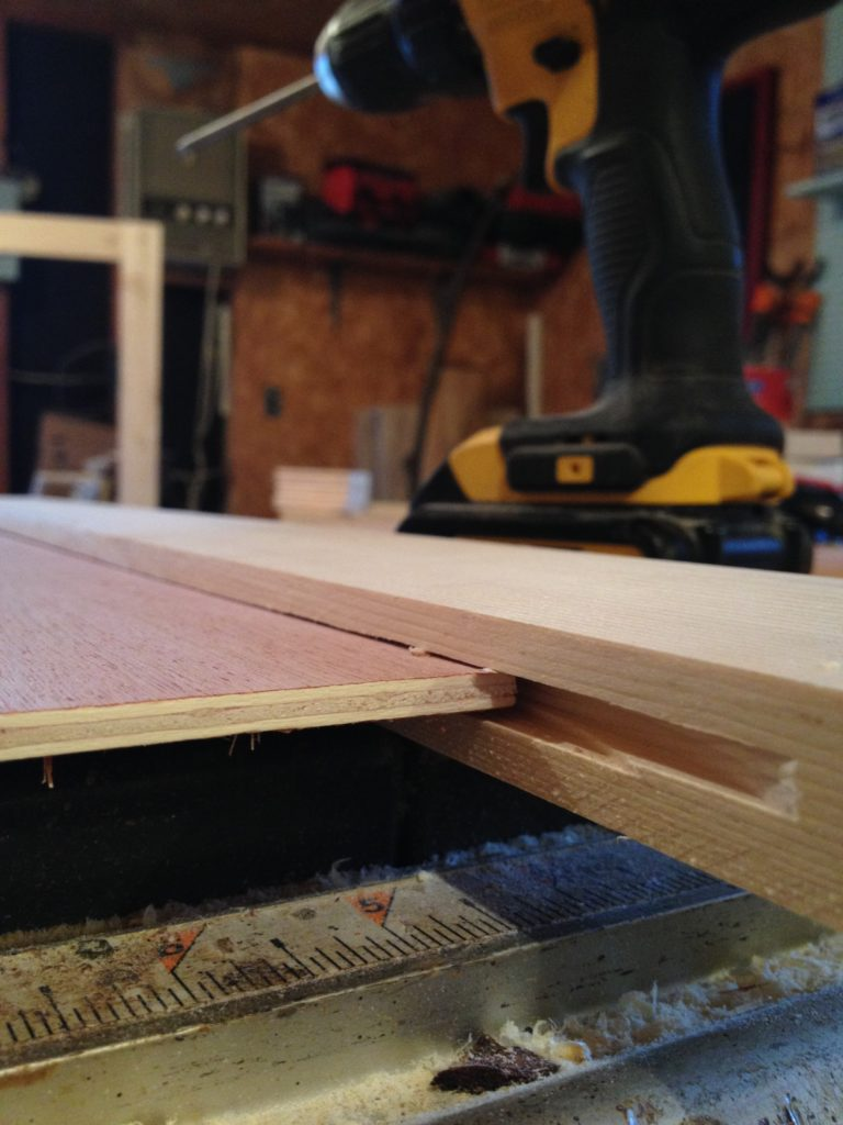 """¼"""" plywood panel sitting in ¼"""" dado cut on door frame pieces"""