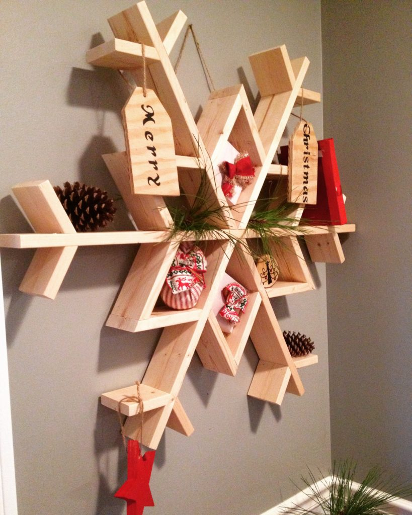 DIY snowflake wall shelf