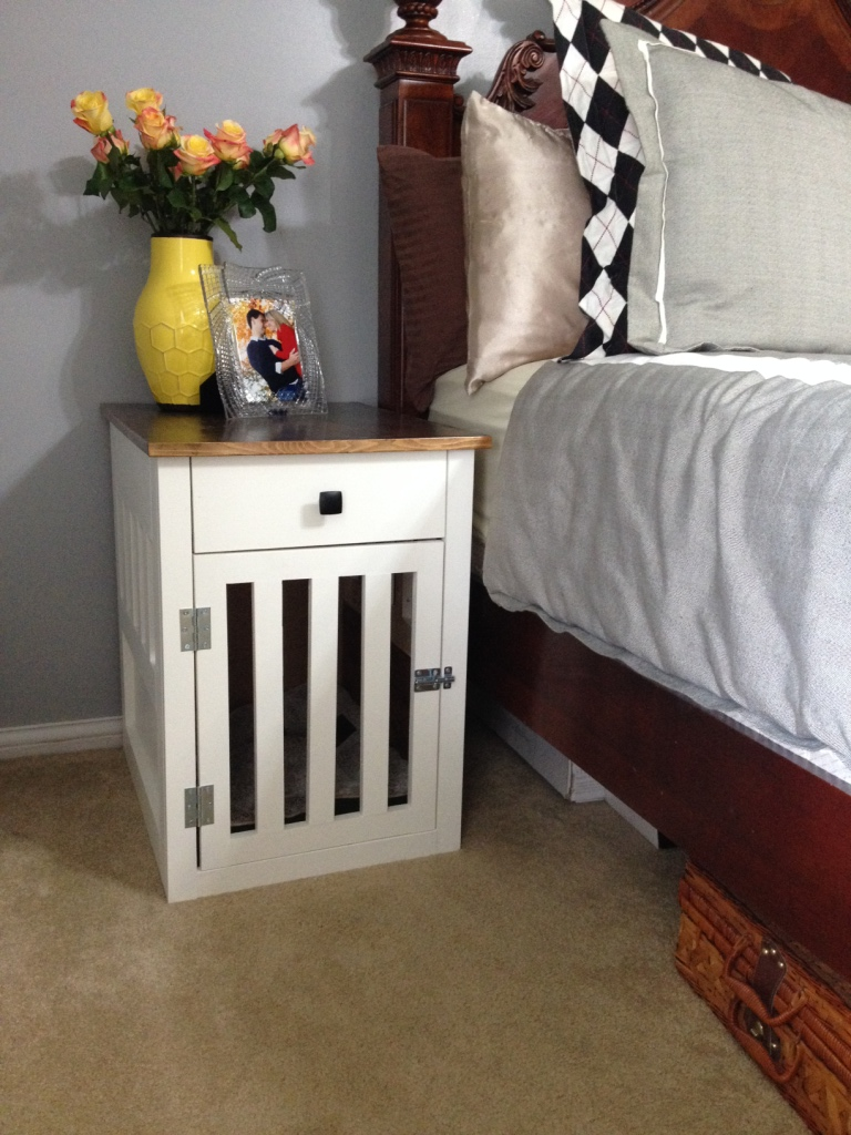 Going to the dogs diy dog crate nightstands for Bedside dog crate