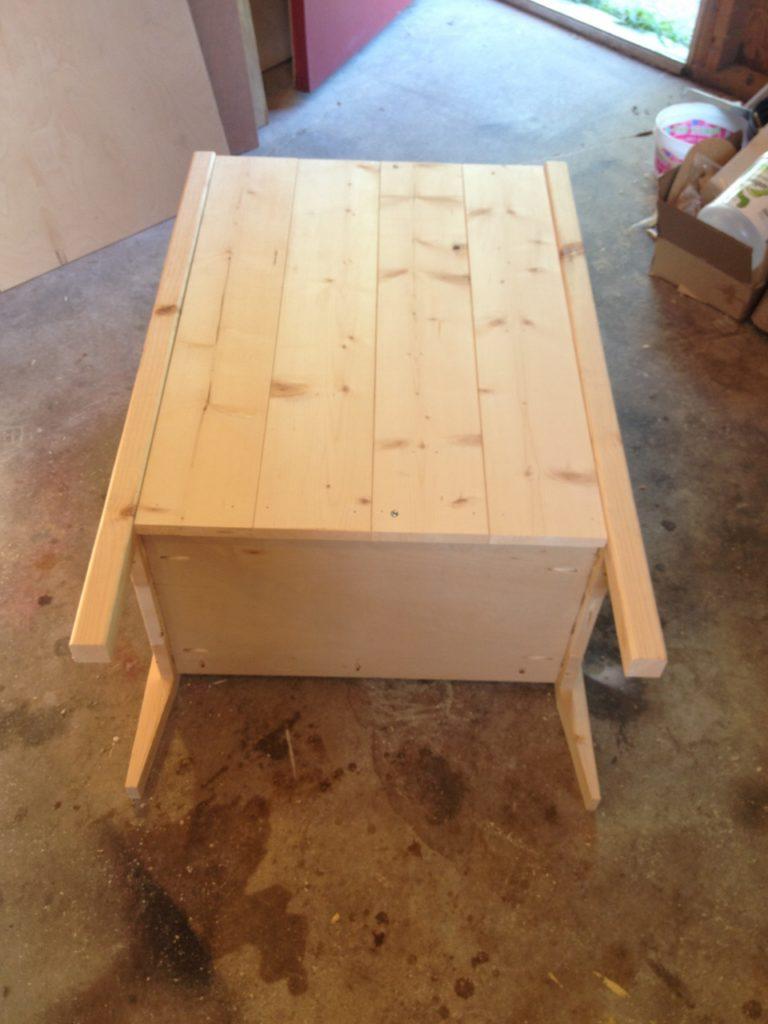 coffee cabinet back slats added