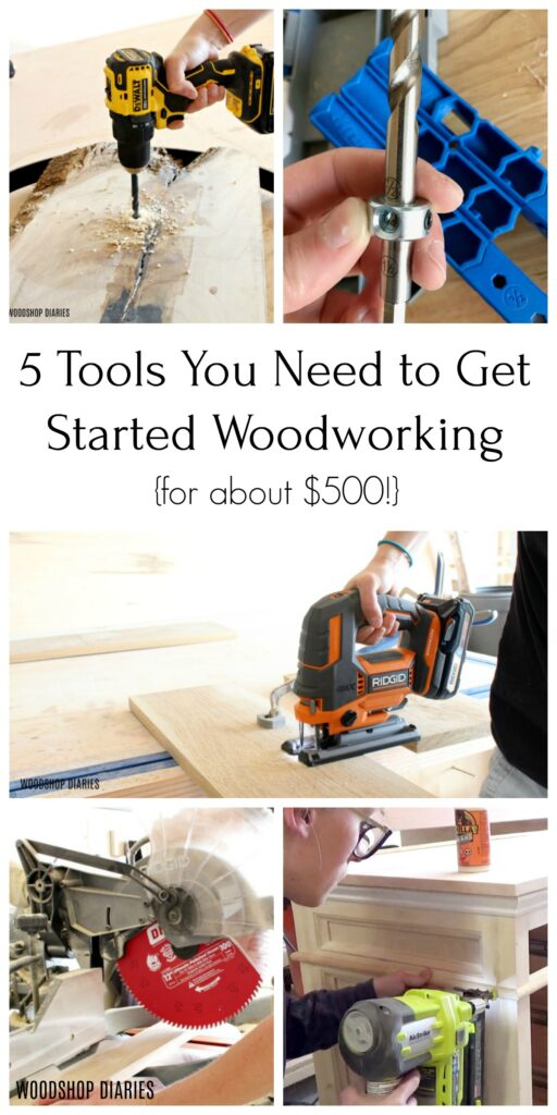 5 Tools to get started woodworking collage image
