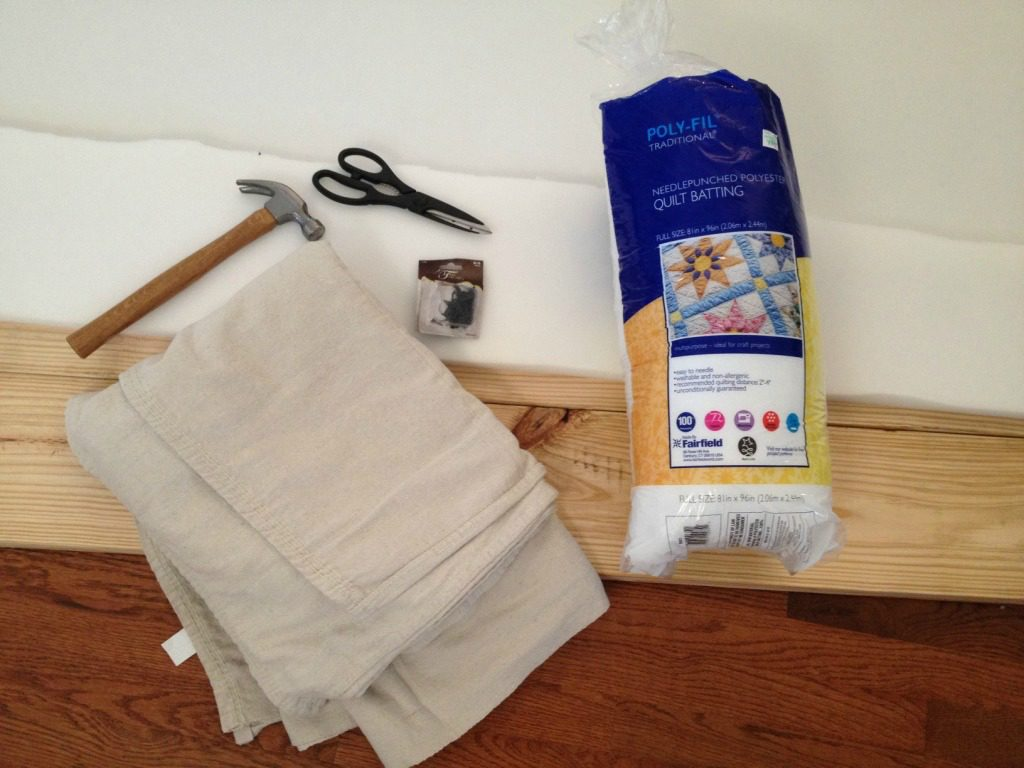 Materials needed to upholster a simple bench
