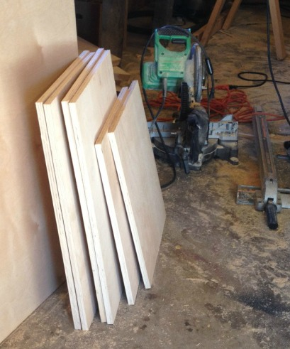 Plywood pieces cut for side cabinets