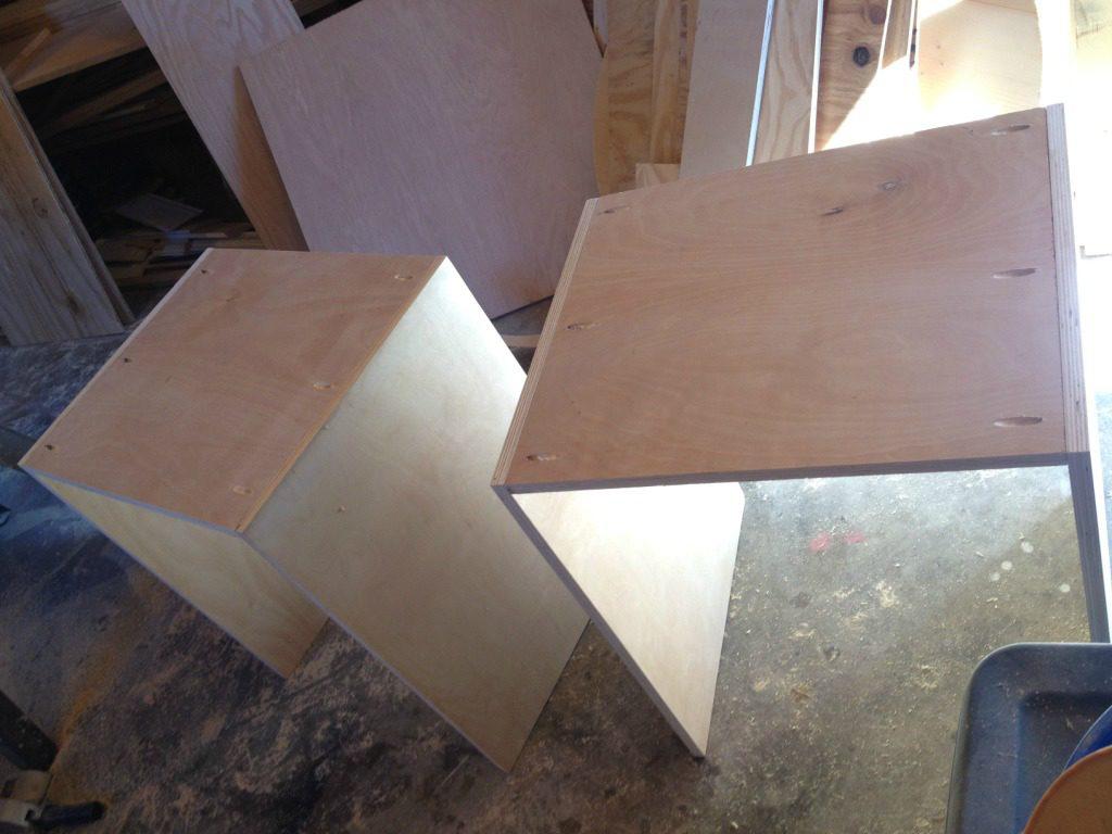 Corner desk cabinet carcasses assembled upside down
