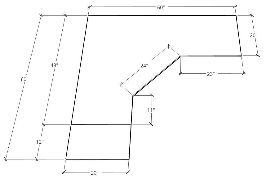 Overall desk top dimensions layout