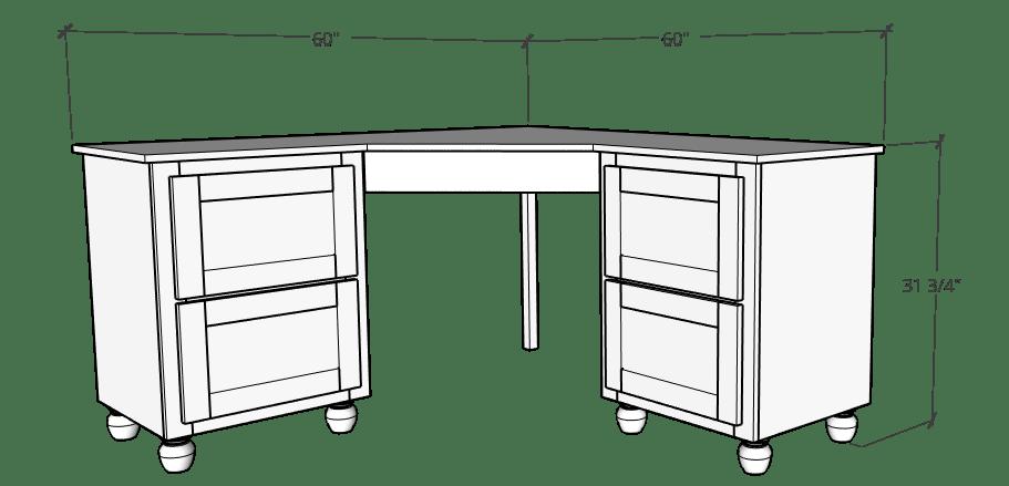 Overall corner desk dimensions