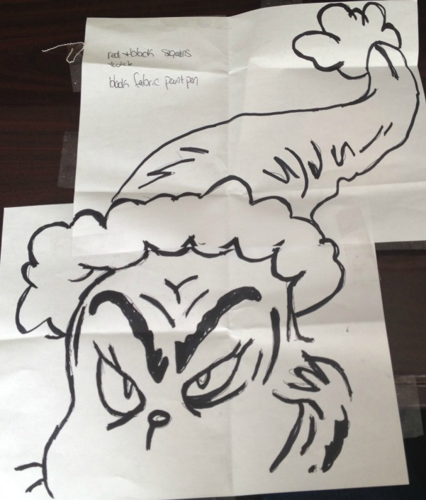 Grinch template on paper