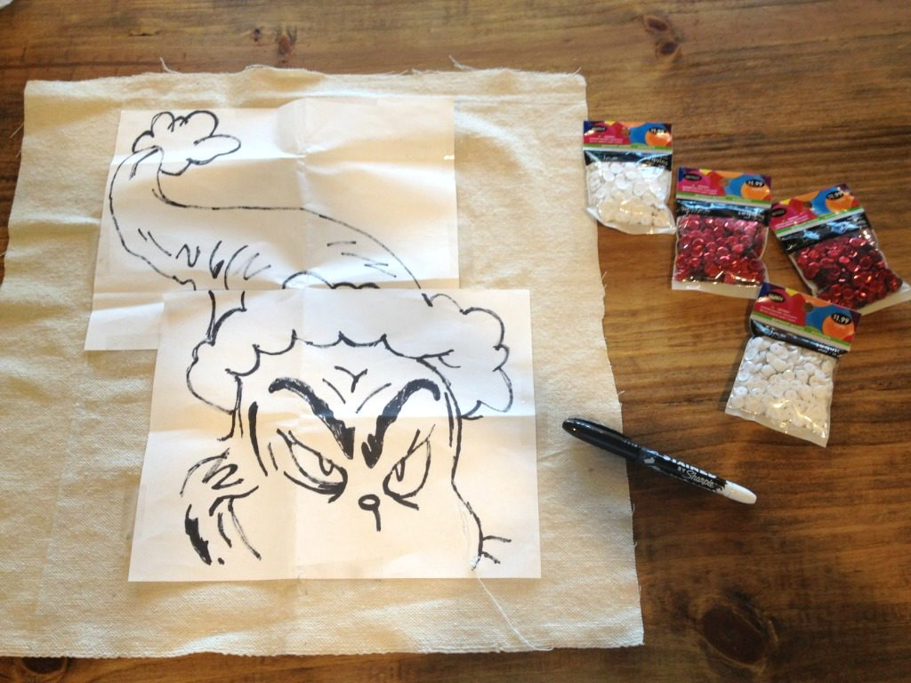 Materials needed to make DIY Grinch pillow cover