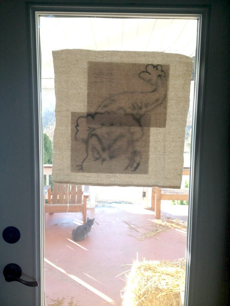 pillow fabric on back door to draw trace template