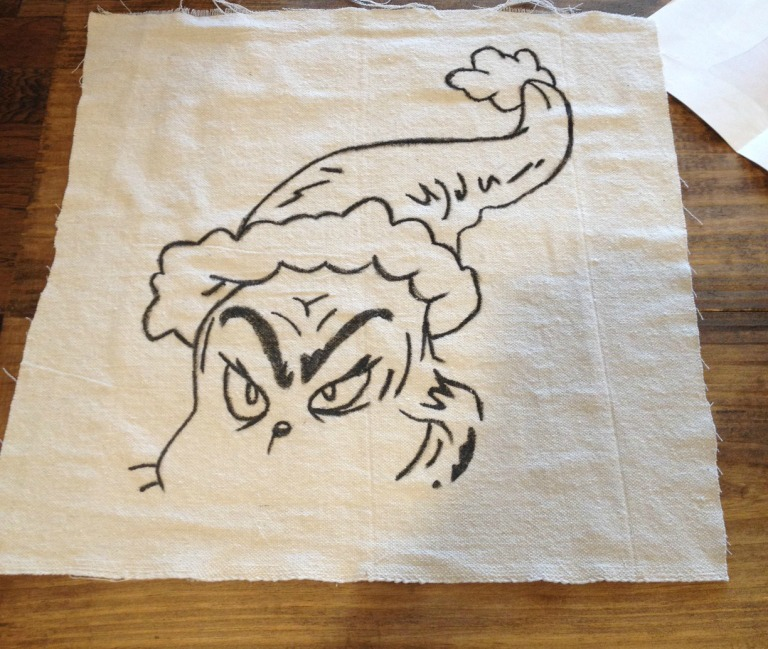 Grinch template applied to fabric