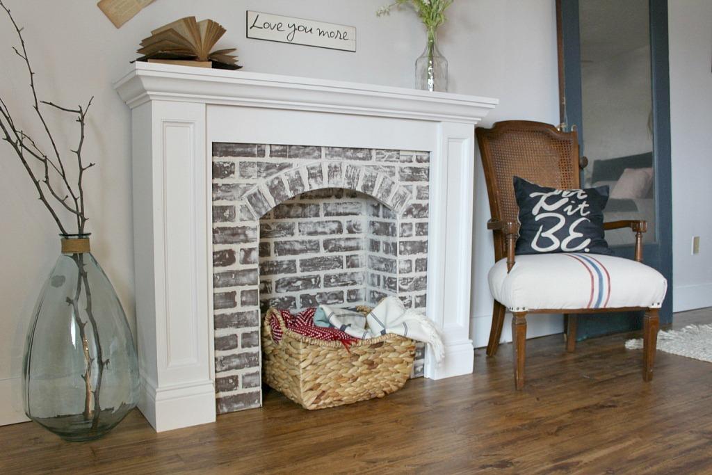 You Better Fake It--DIY Fake Brick Fireplace
