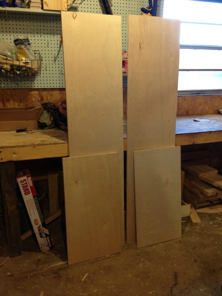 Bookshelf carcass plywood pieces cut to size ready for assembly