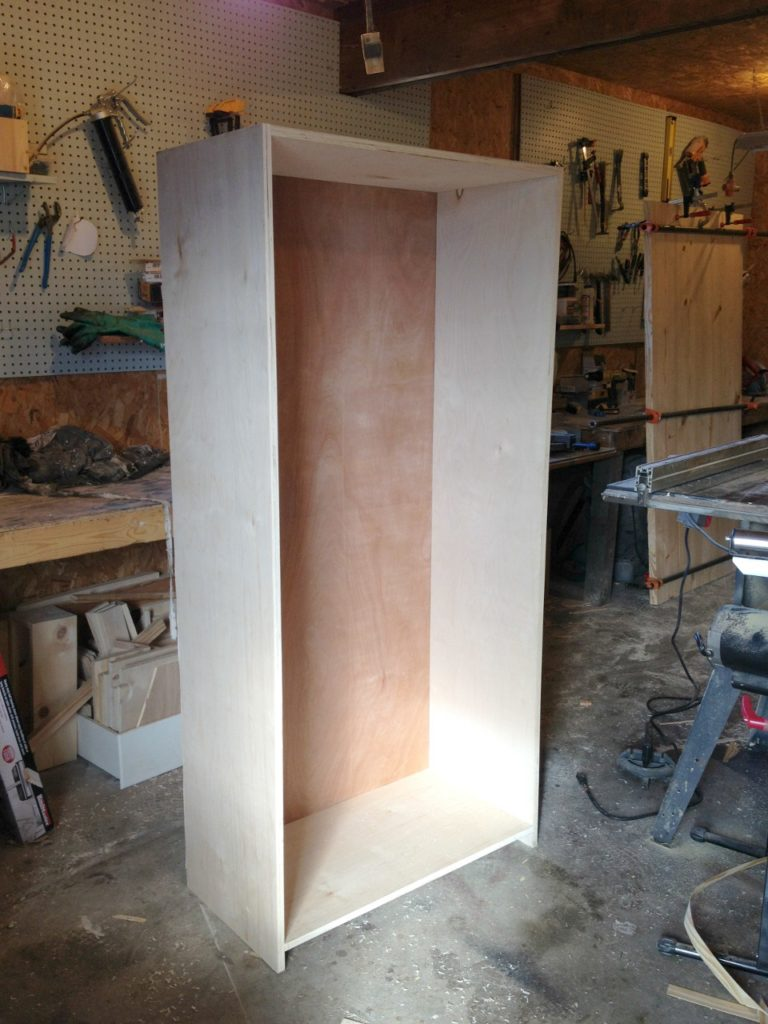 DIY Bookshelf cabinet carcass assembled with back installed