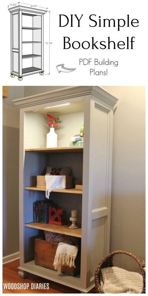 DIY Simple Freestanding Tall Bookshelf Pinterest collage
