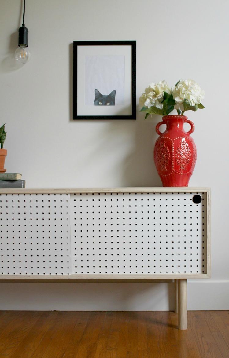 mid century modern diy pegboard cabinet. Black Bedroom Furniture Sets. Home Design Ideas
