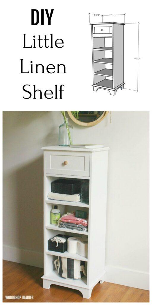 Tall DIY Linen Shelf Cabinet Storage Idea Pinterest Collage Image