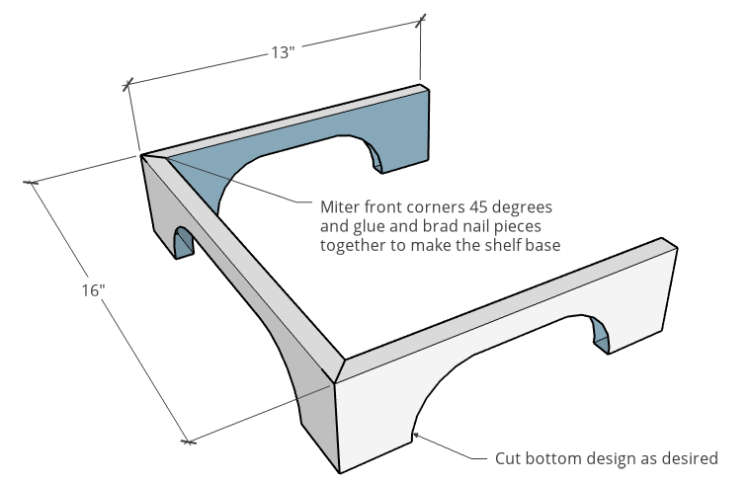 Cabinet base design with two short pieces, one long piece and decorative curves cut
