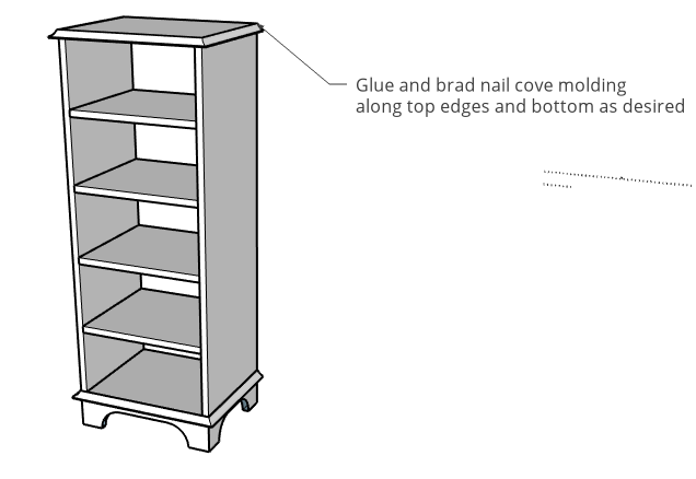 Tall linen shelf cabinet with cove molding along top and bottom to cover plywood edges
