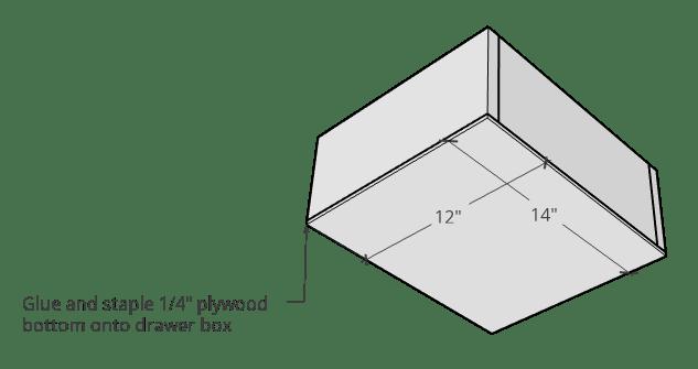 Bottom of linen shelf drawer box digram