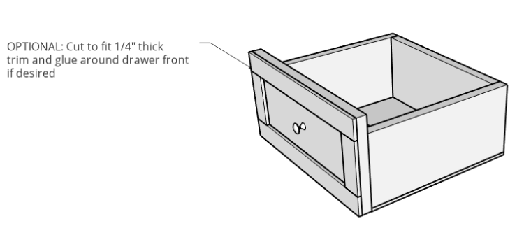 Drawer box with trim glued on front