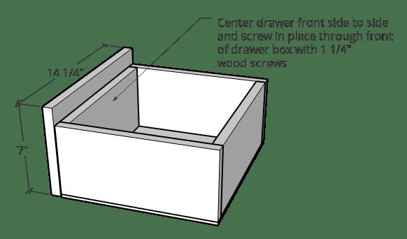 Attaching drawer front onto drawer for linen shelf diagram