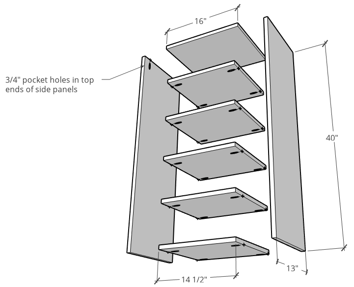 Linen shelf assembly exploded diagram of parts