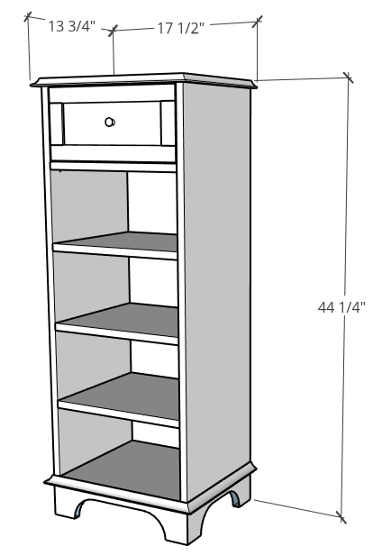 Overall size of tall linen shelf storage cabinet