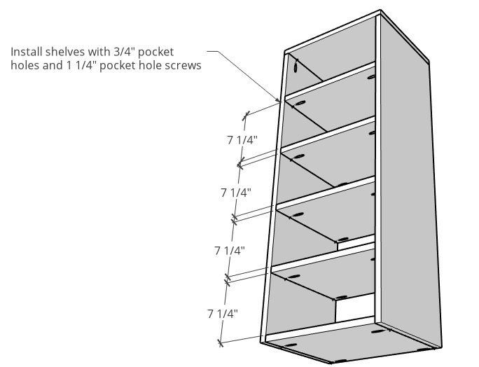 DIY Tall Linen cabinet shelf with shelves installed vertically