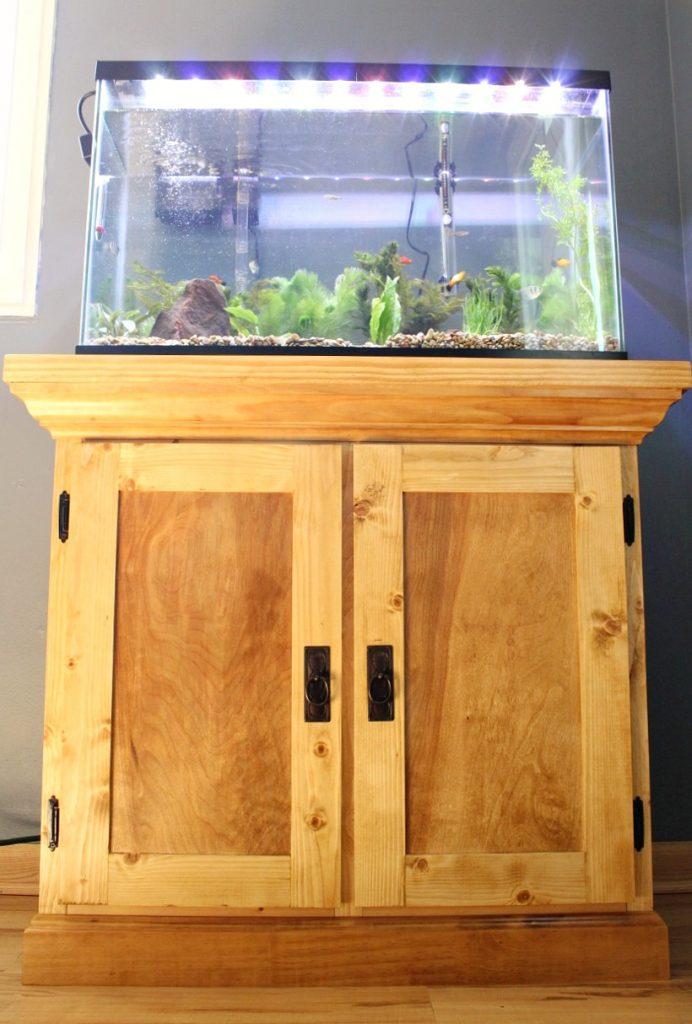 Simple DIY Aquarium Cabinet Stand with Aquarium tank stocked