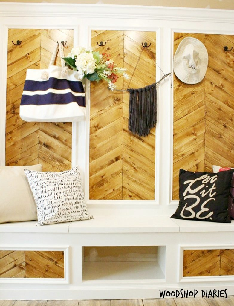 Mudroom Transformation with built ins hook wall and shoe bench