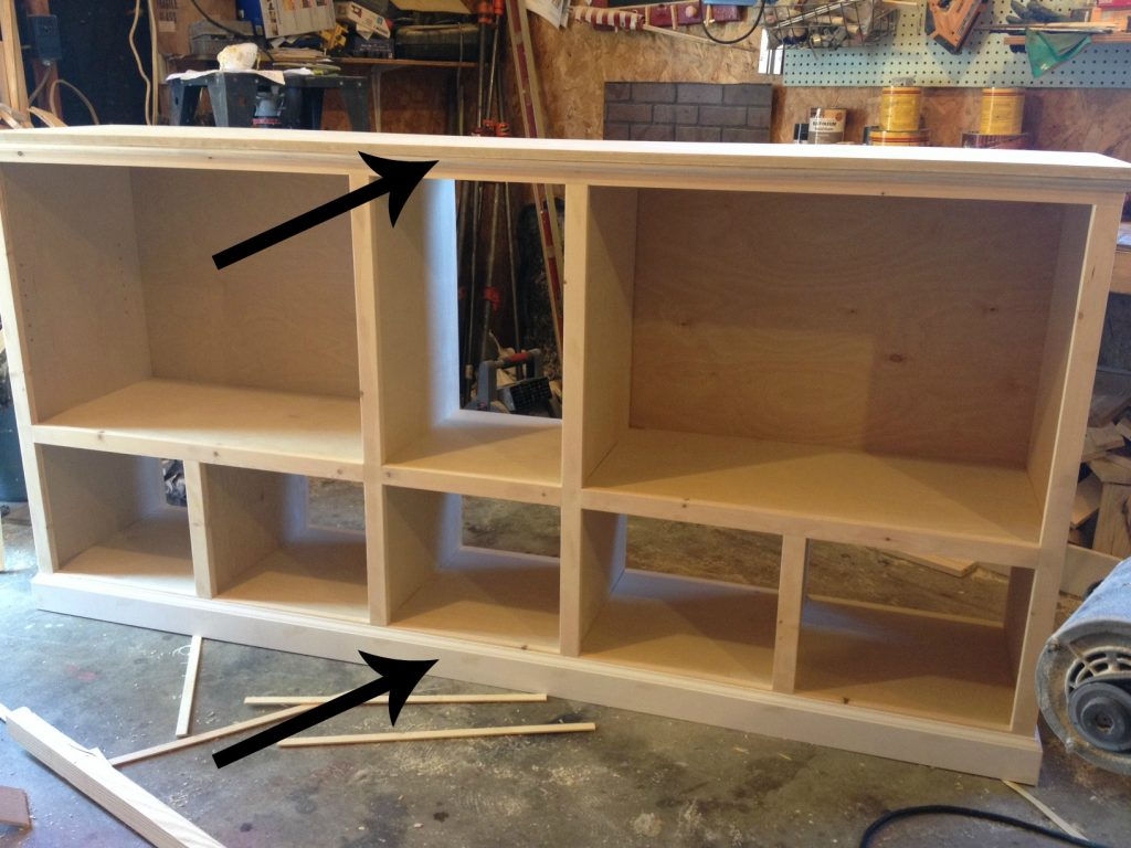 Add Cove molding and baseboard to trim out storage console