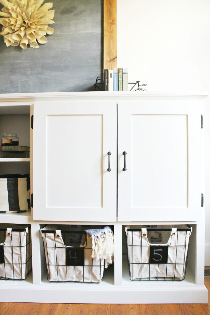 Right side of DIY storage cabinet shaker doors