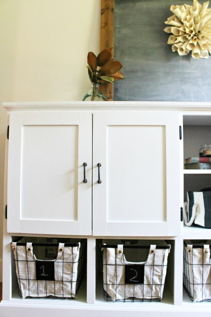 Close up of shaker doors on DIY storage console cabinet