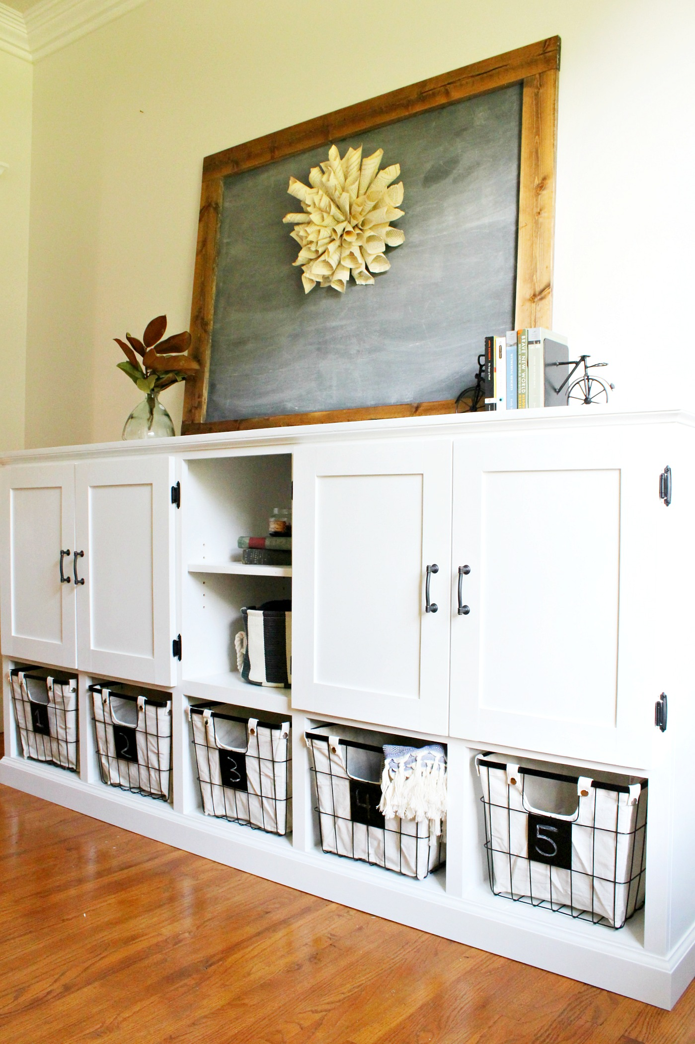 Diy Storage Console With Cabinets Shelves And Cubbies