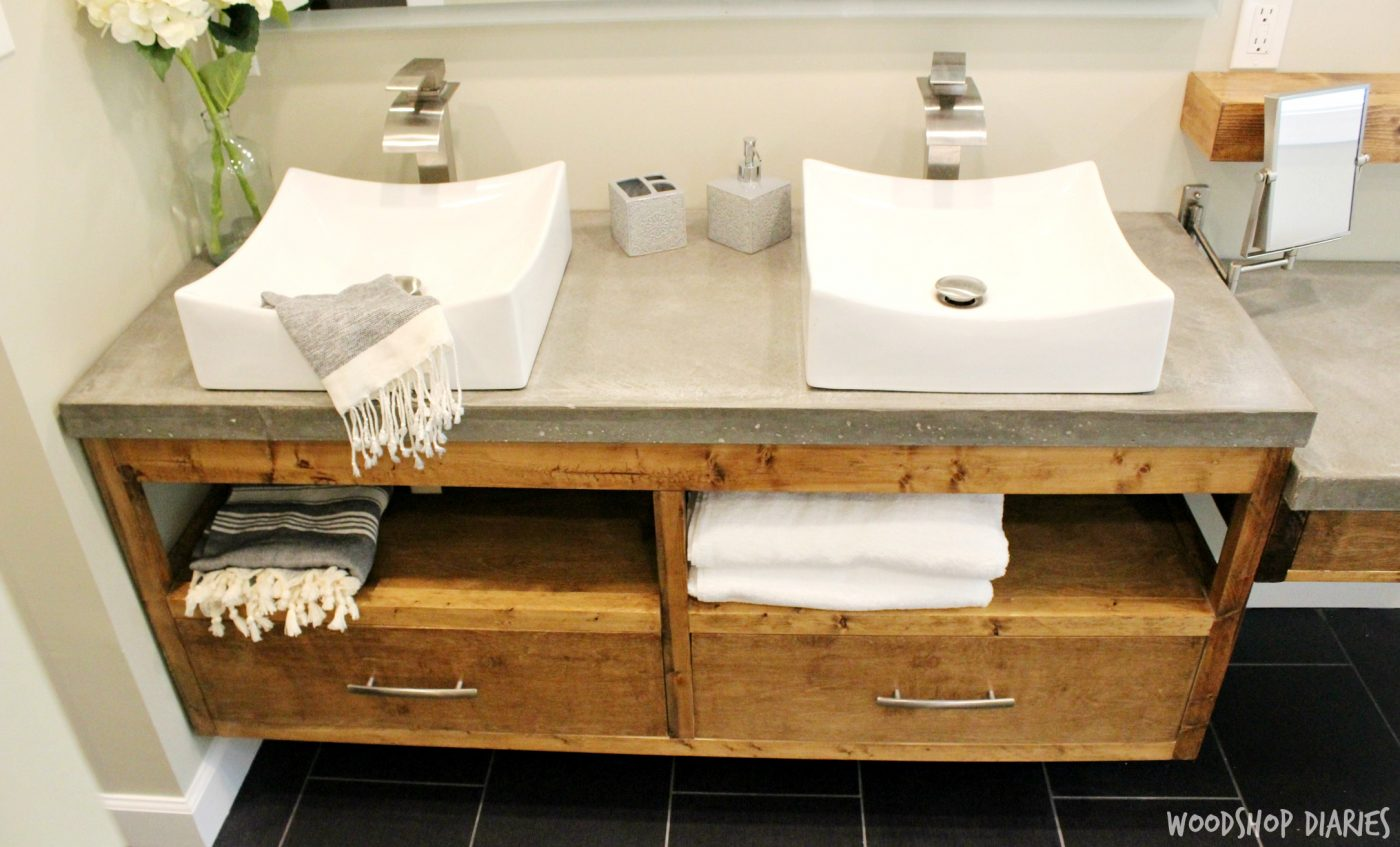Modern DIY Floating Bathroom Vnaity With Double Drawers