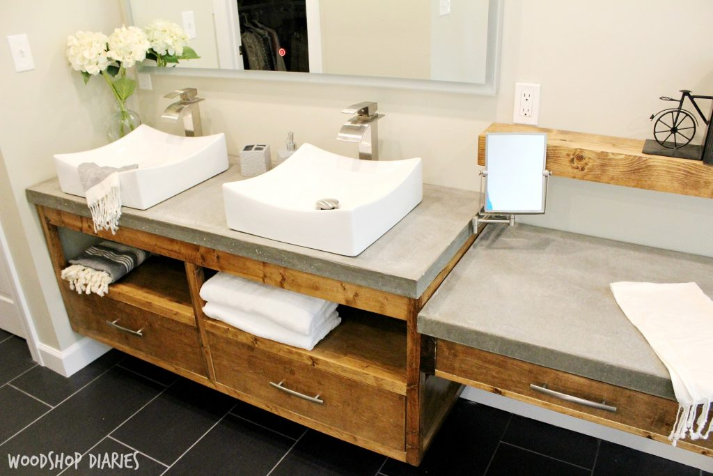 Modern bathroom with floating vanity and concrete countertops