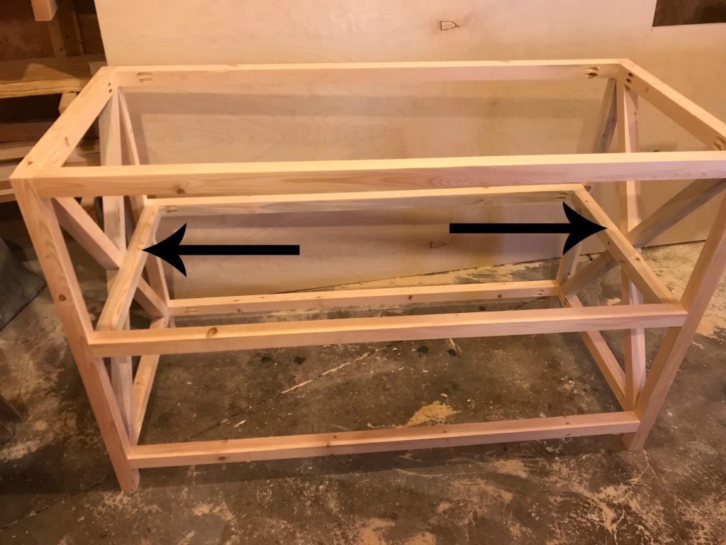 Add middle shelf supports to X Base Console Table