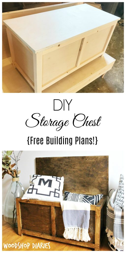 How to build a simple DIY Storage Chest. Get the free building plans for this easy to make trunk that you could use for toy storage, a coffee table, entryway bench, or even a keepsake box!