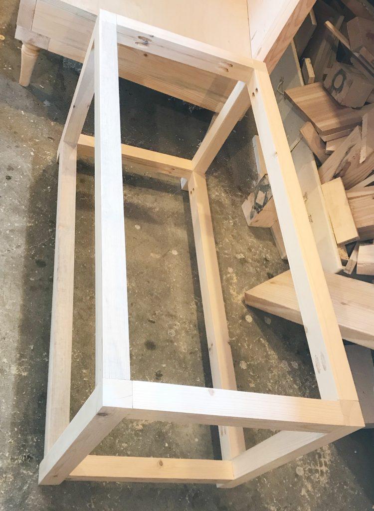 DIY Storage chest frame assembled together