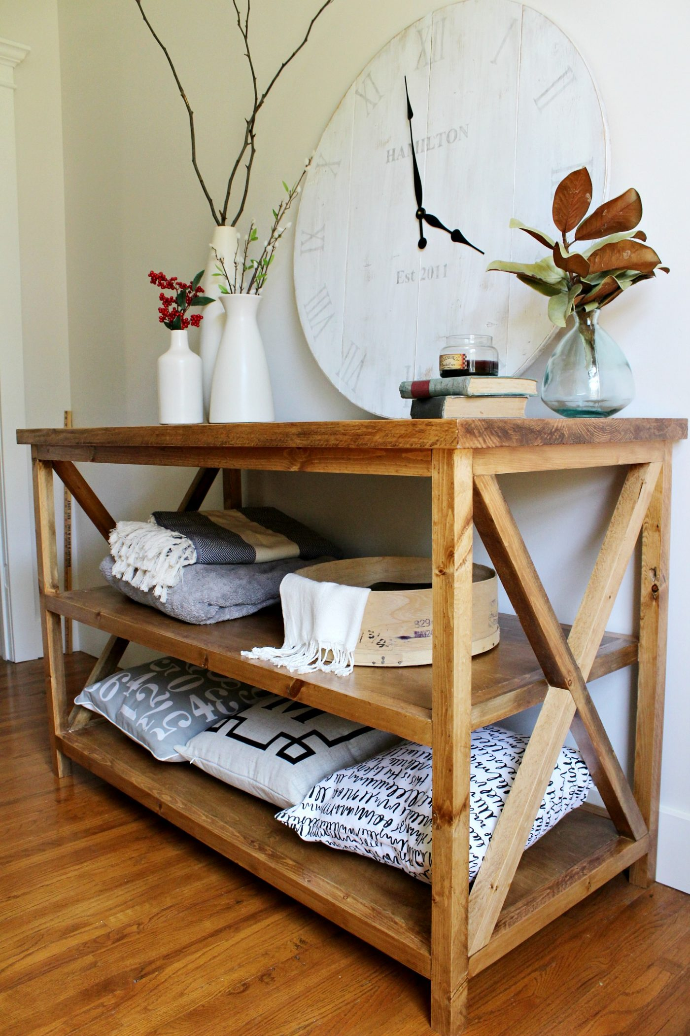 Diy x base console table with middle shelf for X sofa table diy