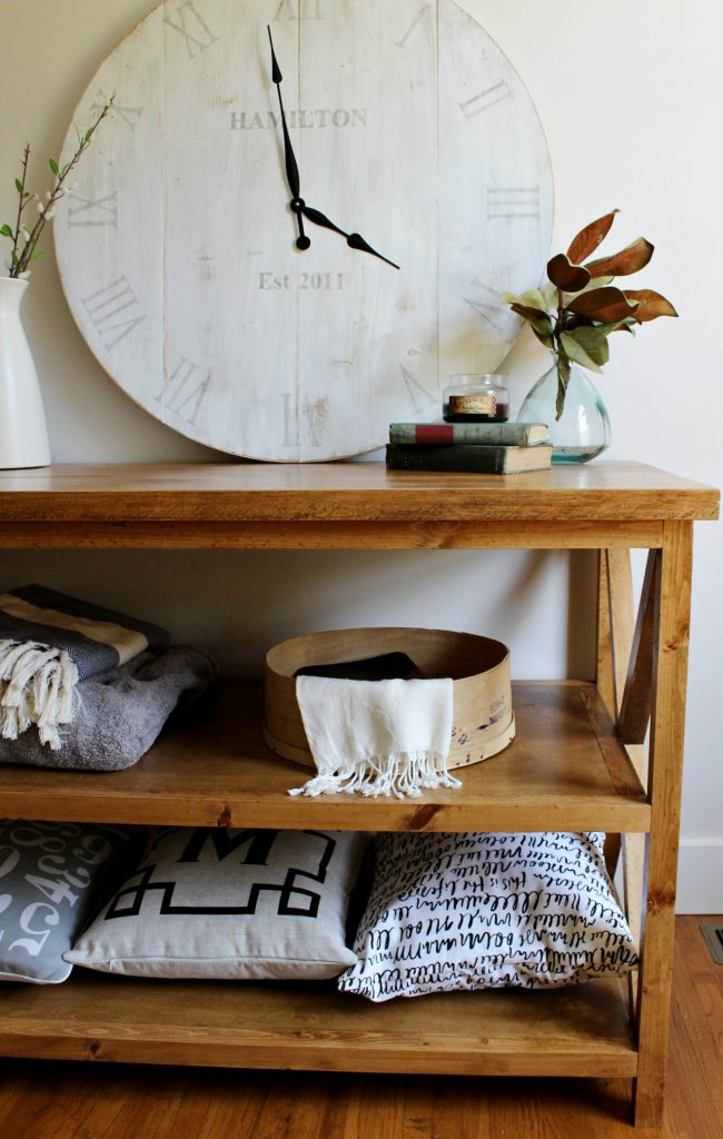How to build a DIY X base console table with shelf