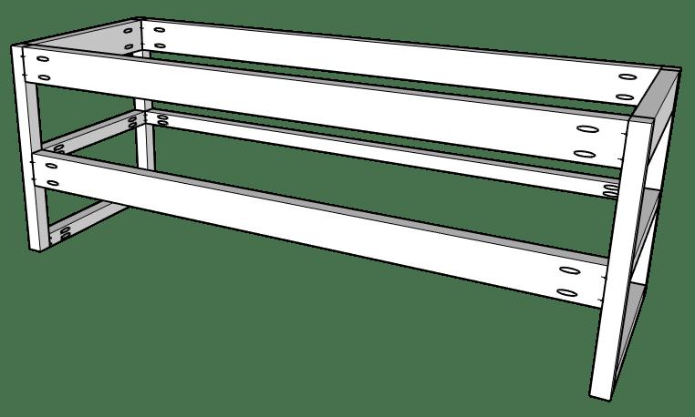 Floating vanity assembly diagram showing back frame
