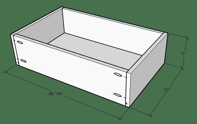 Floating vanity drawer box dimensions