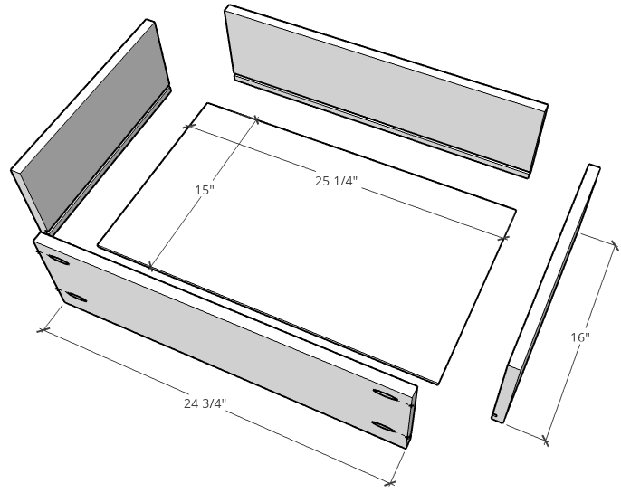 Exploded drawer box diagram dimensions
