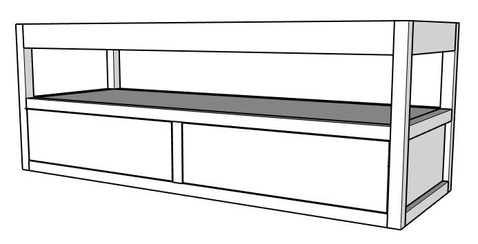 Floating vanity with drawer fronts